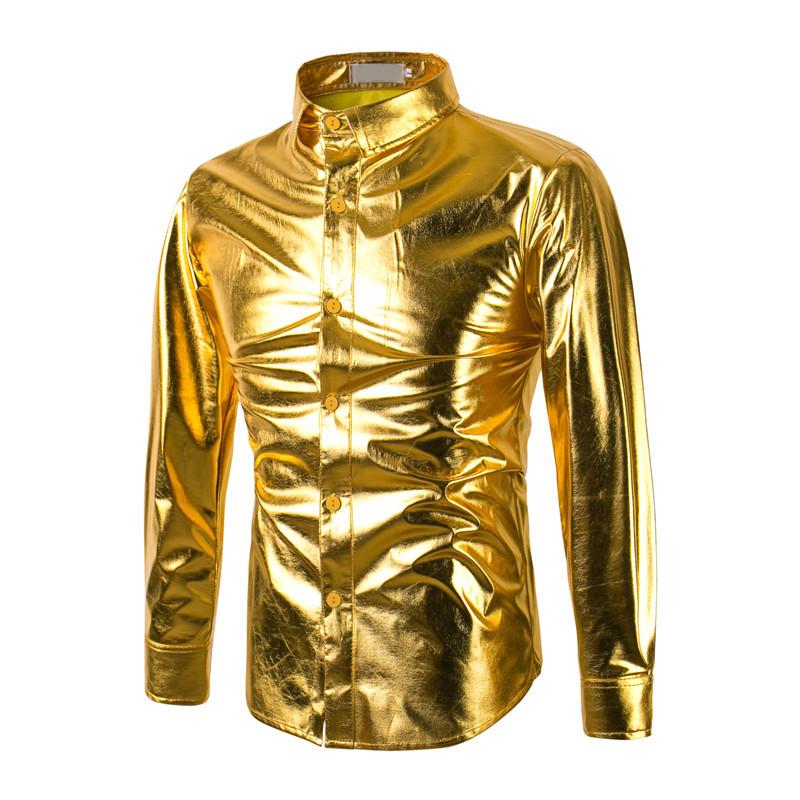 [해외]2017 패션 골드 인쇄 남성 슬림 맞춤 셔츠 Chemise Homme 긴 Retail 셔츠 캐주얼 Camisas Hombre Luxury Brand Mens Dress Shirts/2017 Fashion Gold Print Men Slim Fit Shirt C