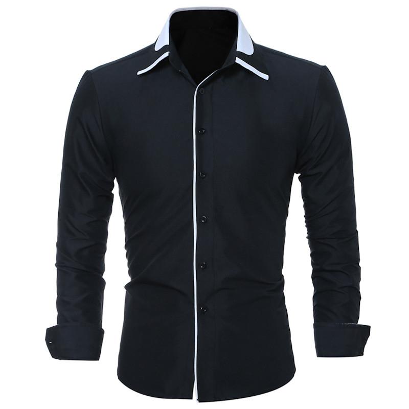 [해외]남성 캐주얼 셔츠 새로운 패션 긴 Retail 블랙 망 드레스 셔츠 남성 브랜드 의류 사회 사업 슬림 남성 턱시도 셔츠/Men Casual Shirt New Fashion Long Sleeve Black Mens Dress Shirts Male Brand-clo