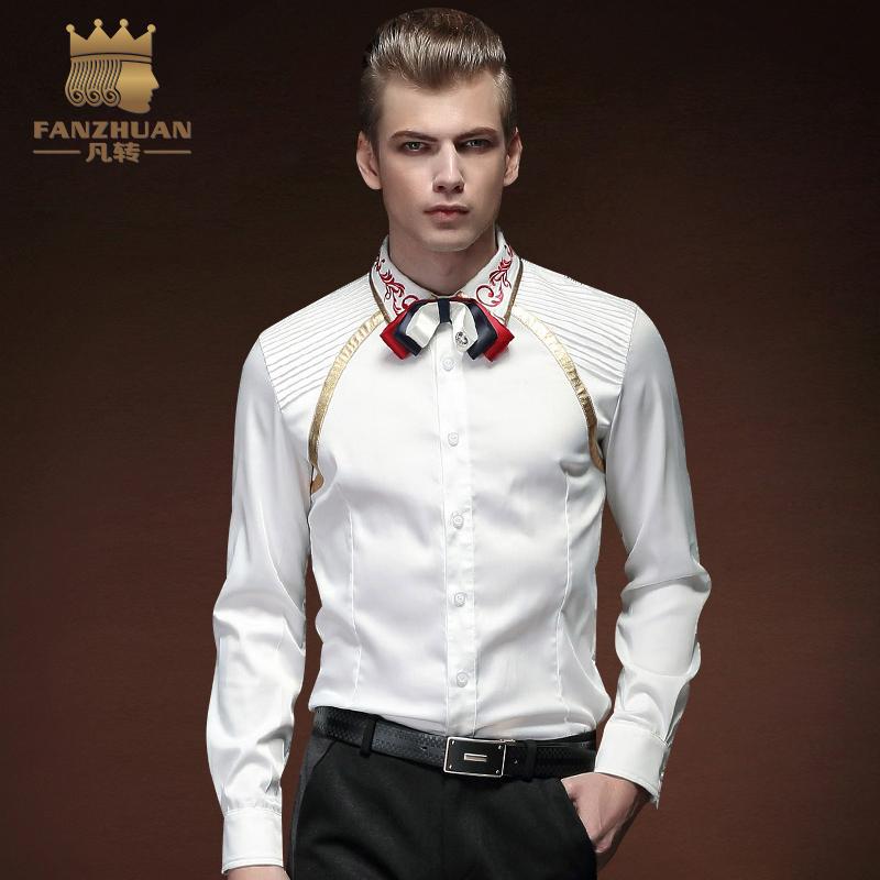 [해외]FANZHUAN 기하학 스티치 5xl 남자 & 턱시도 셔츠 남자 긴 Retail 복장 셔츠 망 색 셔츠/FANZHUAN Folded Geometric Stitching 5xl New Arrival Men&s  Tuxedo Shirt Men Long Sle