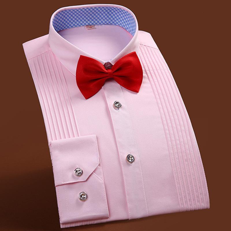 [해외]2017 브랜드 뉴 남자 입체 셔츠 결혼 신랑 셔츠 슬림 피트의 신랑 긴 Retail 남자 드레스 턱시도 셔츠 38-44/2017 Brand New Men Three Dimensional Shirts Married Groom Shirt Slim Fit Groom