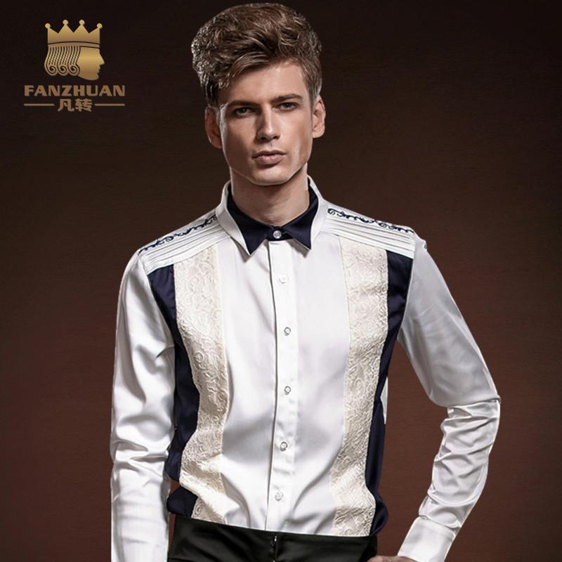 [해외]FANZHUAN 가을 패치 워크 남성 레이스 셔츠 긴 Retail 캐주얼 셔츠 화이트 남성 & 셔츠 인기 브랜드 의류 신랑 드레스 셔츠/FANZHUAN Fall Patchwork Men Lace Shirt Long Sleeve Casual Shirts W