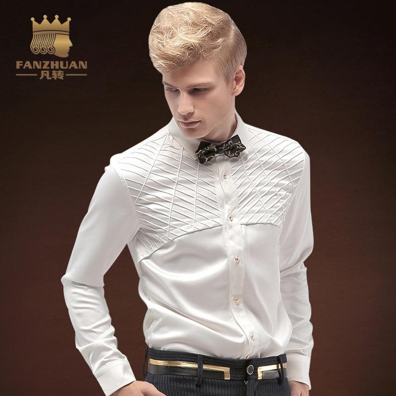 [해외]FANZHUAN 인기 브랜드 의류 패션 남자 & 셔츠 턱시도 셔츠 신랑이 결혼합니다 흰 셔츠 패치 워크 탑스 남자 복장/FANZHUAN Featured Brands Clothing Fashion  Men&s Shirt Tuxedo Shirts The gr