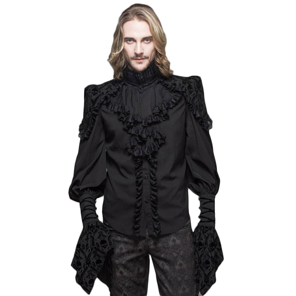[해외]Steampunk 고딕 남자 레이스 블라우스 빅토리아 더블 레이어 커프  검은 셔츠 해골 인쇄 꽃잎 슬리브 턱시도 셔츠/Steampunk Gothic Men Lace Blouses Victorian Double Layer Cuff Ruffle Black Shir