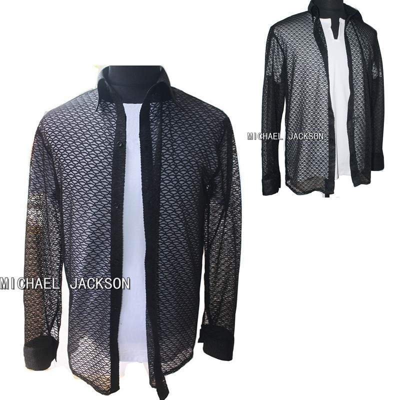 [해외]퍼포먼스 콜렉션 MJ MICHAEL JACKSON 레이스 블랙 쿨 당신은 혼자가 아닙니다 쿠알라 룸푸르 셔츠에있는 MTV 콘서트 화이트 셔츠/Performance Collection MJ MICHAEL JACKSON Lace Black Cool You Are N