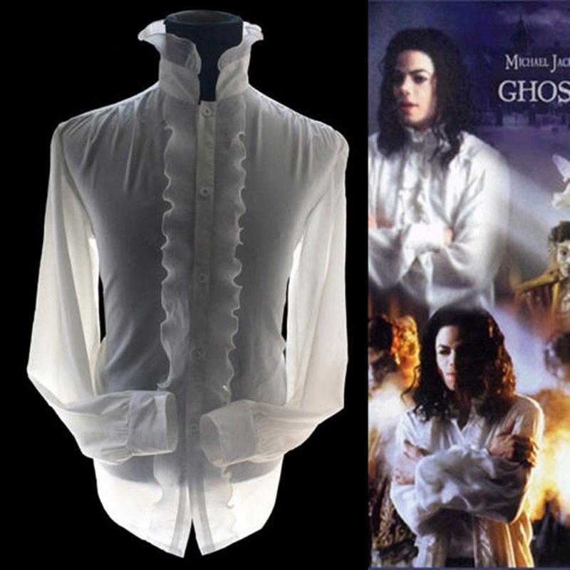 [해외]엠제이 마이클 잭슨 고스트 화이트 레이든 포플린 클래식 레이온 화이트 로얄 영국 레트로 셔츠 팬들을해골보기/MJ Michael Jackson The Ghost White Reyon Poplin Classic Rayon White Royal England Retr