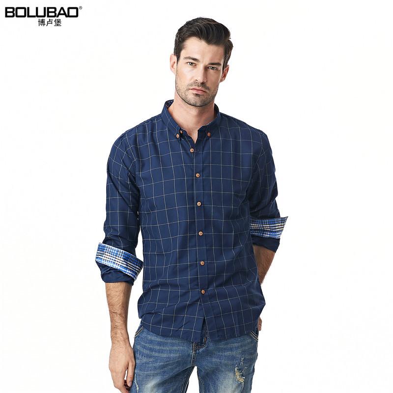 [해외]Bolubao 새로운 남성 캐주얼 셔츠 패션 브랜드 면화 긴 Retail 격자 무늬 망 드레스 셔츠 슬림 남성 턱시도 Camisa 사회 Masculina/Bolubao New Men Casual Shirt Fashion Brand Cotton Long Sleev