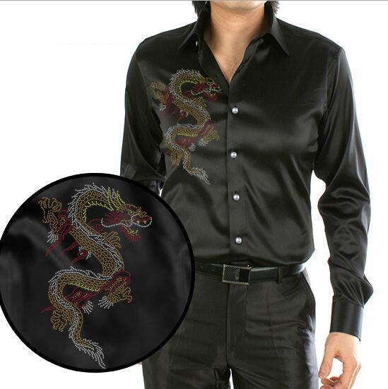 [해외]블랙 디자인 어 드래곤 인쇄 남자 & s 실크 셔츠 캐주얼 긴 Retail 웨딩 셔츠 파티 셔츠/Black Design Chinese Dragon Printing Men&s Silk Shirt Casual Long Sleeve Wedding Shirt P