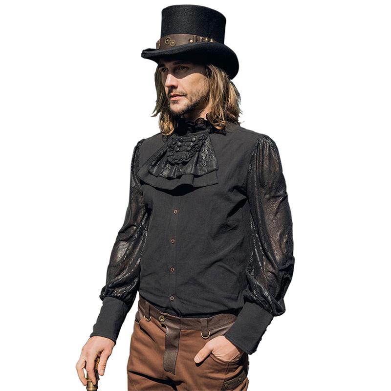 [해외]Steampunk 궁전 스타일 남자 넥타이 셔츠 패션 시폰 긴 Retail 고딕 루스 셔츠 싱글 브레스트 블랙 셔츠 탑/Steampunk Palace Style Man Tie Shirts Fashion Chiffon Long Sleeve Gothic Loose