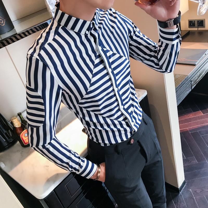 [해외]?남자 셔츠 최고 품질 나이트 클럽 스트라이프 캐주얼 셔츠 남자 긴 Retail 슬림 맞는 턱시도 남자 복장 셔츠 블루 / 레드 3XL - M/ Men Shirt Top Quality Night Club Striped Casual Shirts Men Long S