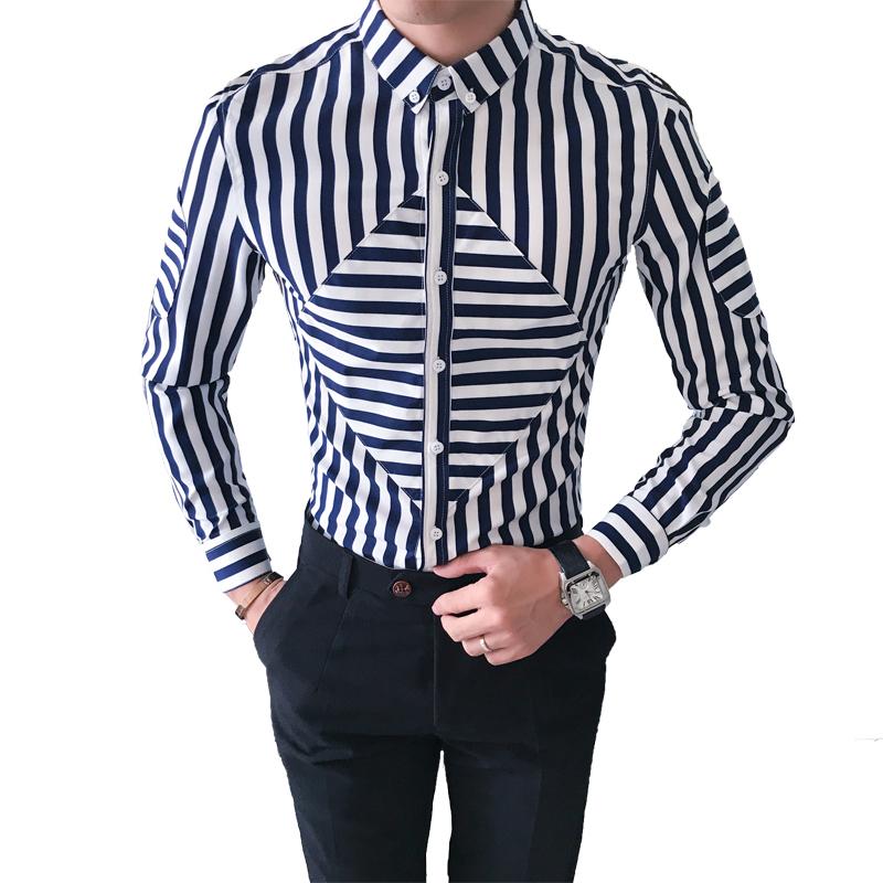 [해외]?남자 나이트 클럽 셔츠 캐주얼 슬림 맞는 긴 Retail 줄무늬 턱시도 셔츠 남성 패션 2018 camisa social masculina 3XL-M/ Men Night Club Shirts Casual Slim Fit Long Sleeve Striped Tu