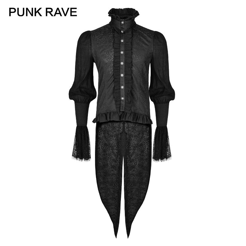 [해외]펑크 레이브 고딕 Dovetail 블랙 셔츠 레이스 퍼프 슬리브 브로케이드 Swallow-tailed Men Shirts 할로윈 파티 크리스마스 의류/PUNK RAVE Gothic Dovetail Black Shirt Lace Puff Sleeves Brocad