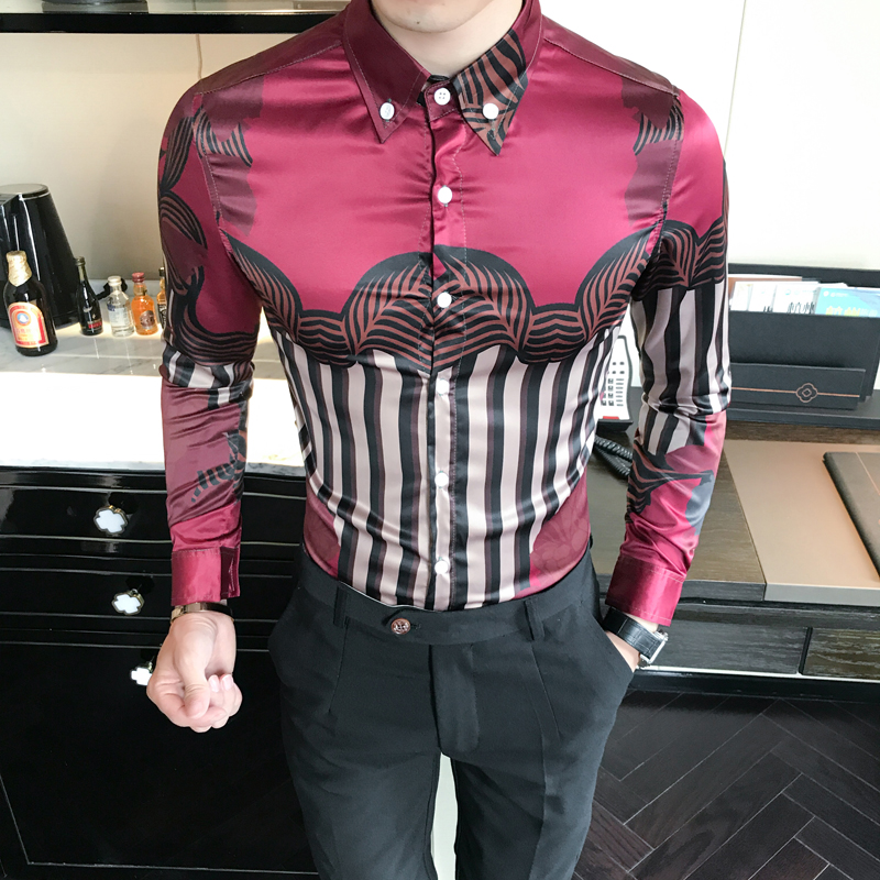 [해외]?Men Floral Shirt 한국 슬림 피트 롱 슬리브 드레스 셔츠 남성 나이트 클럽 남성 캐주얼 블라우스 chemise homme/ Men Floral Shirt  Korean Slim Fit Long Sleeve Dress Shirts Mens Night