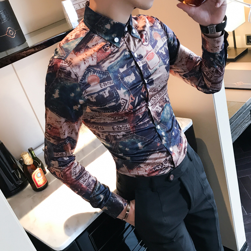 [해외]뜨거운 한국어 빈티지 셔츠 남자 패션 2018 봄 새로운 나이트 클럽 드레스 셔츠 남성 긴 Retail 슬림 맞는 사회적인 턱시도 셔츠 남성/Hot Korean Vintage Shirt Men Fashion 2018 Spring New Night Club Dre