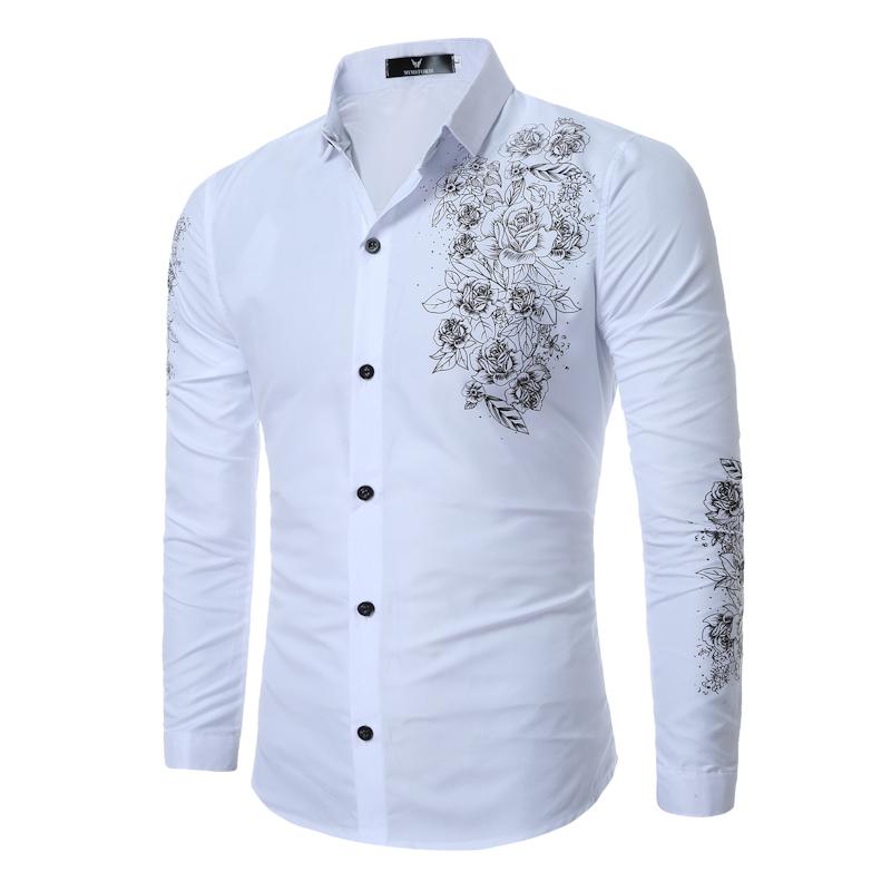 [해외]핫 세일 영국 스타일 고귀한 꽃 무늬 프린트 남자 드레스 셔츠 긴 Retail 체스 옴므 슬림 피트 Camisa Social Masculina 3XL Blusas/Hot Sell England style Noble Floral Print Men Dress Shi