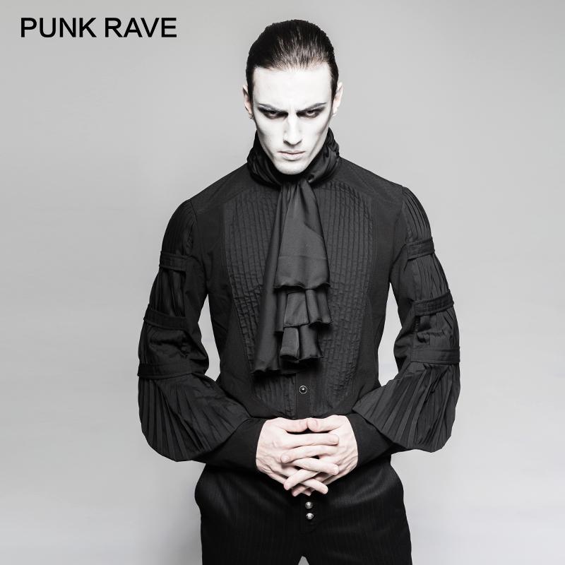 [해외]펑크 RAVE Steampunk 신사 넥타이 셔츠 고딕 블랙 실크 넥타이 큰 풍선 슬리브 남자 프릴 블라우스 의류 파티/PUNK RAVE Steampunk Gentleman Necktie Shirts Gothic Black Silk Ties Big Balloon