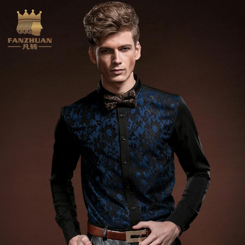[해외]FANZHUAN 인기 브랜드 의류 패션 남성 & 고딕 셔츠 펑크 턱시도 셔츠 남성 남성 실크 블라우스 탑 드레스 남성 M-5XL/FANZHUAN Featured Brands Clothing Fashion Men&s Gothic Shirt Punk Tuxe