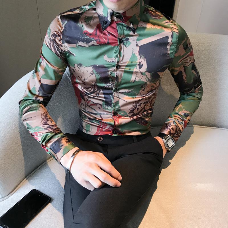 [해외]세련 된 남자 파티 드레스 셔츠 한국어 슬림 맞는 위장 인쇄 남자 & s 사회 셔츠 캐주얼 긴 Retail 턱시도 남자 남성 3XL-M/Stylish Men Party Dress Shirts Korean Slim Fit Camouflage Print Me