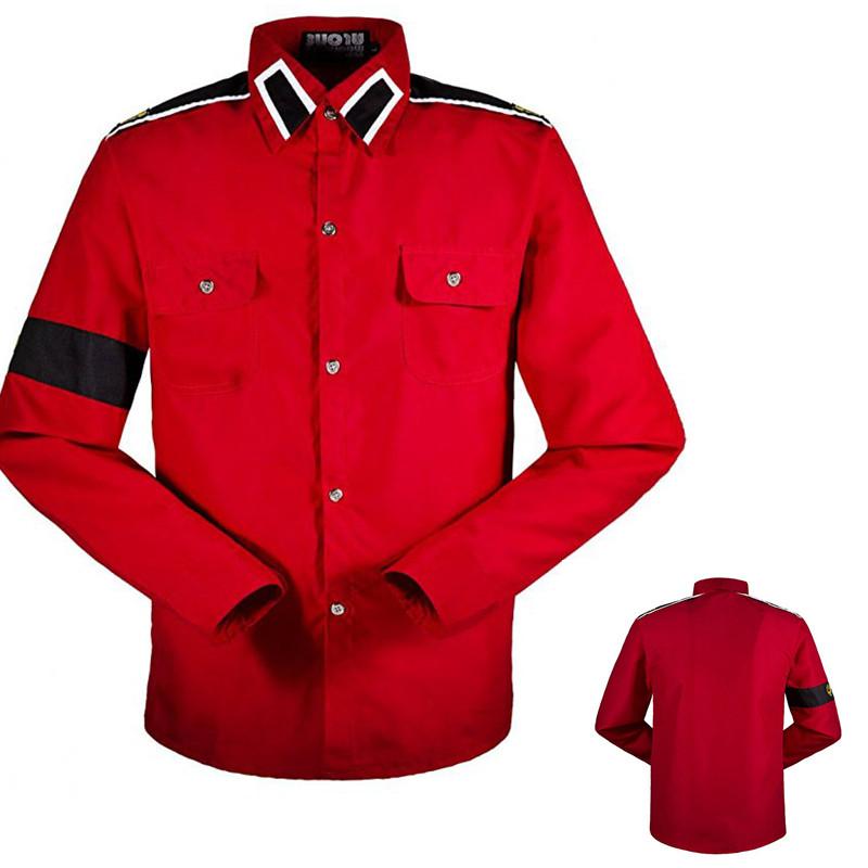 [해외]클래식 마이클 잭슨 MJ 레드 레트로 패션 CTE 반전 코튼 셔츠 스티치 워크 사크 컬렉션 자수 XS-XXXL/Classic Michael Jackson MJ Red Retro Fashion CTE Anti-war Cotton Shirt Stitchwork Sa
