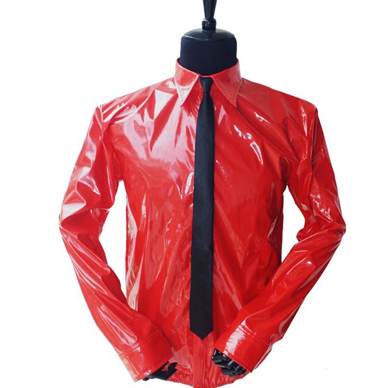 [해외]마이클 잭슨 레드 틴 셔츠를 기억하는 MJ PU 가죽 위험한 잼 매직 테이프 댄서를VEL-CRO 셔츠 넥타이 Quikly Change/MJ In Memory of Michael Jackson Red Thin Shirt PU Leather Dangerous Jam