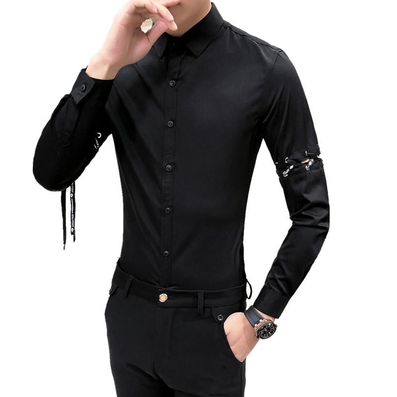 [해외]셔츠 남성 2018 고품질의 고전적인 비즈니스 남성 & s의 셔츠 긴 Retail 턴 다운 칼라 플러스 크기 슬림 맞는 드레스 셔츠/Shirt men new arrival 2018 high quality classic business men&s shirt
