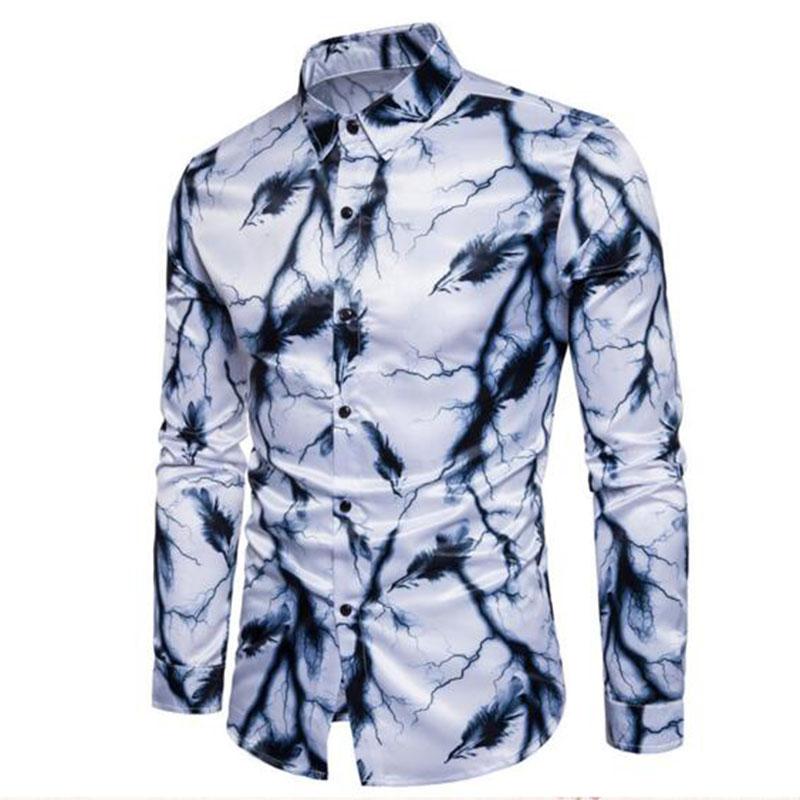 [해외]턱시도 착용 패션 남성 긴 Retail 꽃 프린트 실크 통기성 셔츠, 슬림 피트 성격 잉크 페인팅 셔츠 블라우스/Tuxedo Wear Fashion Men Long Sleeve Floral Printed Silk Breathable Shirts,Slim Fit