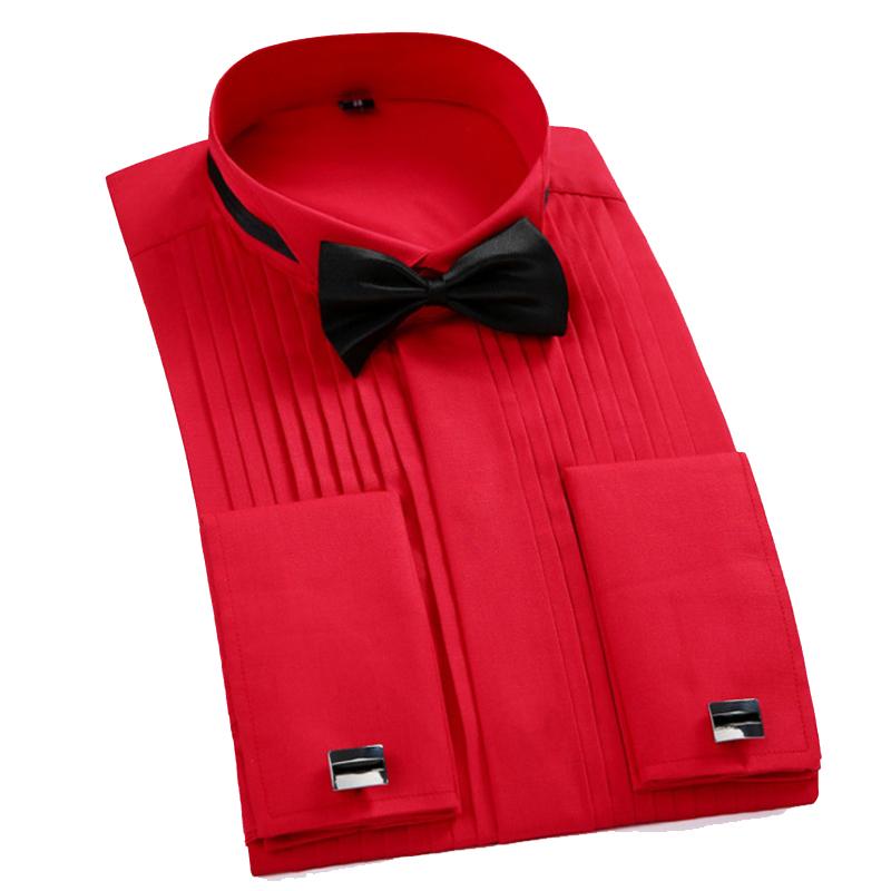 [해외]턱시도 셔츠 2018 새 남성 & 프랑스 프렌치 커프 레드 윙팁 칼라 셔츠 남성 긴 Retail 드레스 셔츠 공식적인 웨딩 신랑 셔츠/Tuxedo Shirt 2018 New Men&s French Cuff  Red Wing Tip Collar Shirt