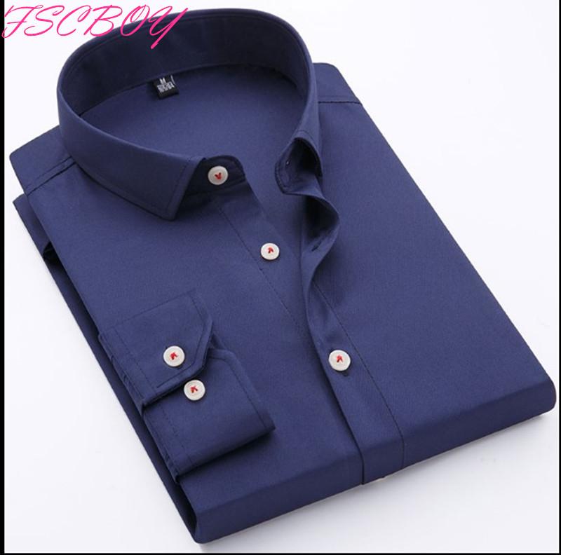 [해외]봄 2018 퓨어 컬러 남성 드레스 셔츠 긴 Retail 클래식 맞는 패션 블루 워크웨어 브랜드 비즈니스 남성 캐주얼 셔츠/Spring 2018 Pure Color Men Dress Shirt Long Sleeve Classic Fit  Fashion Blue
