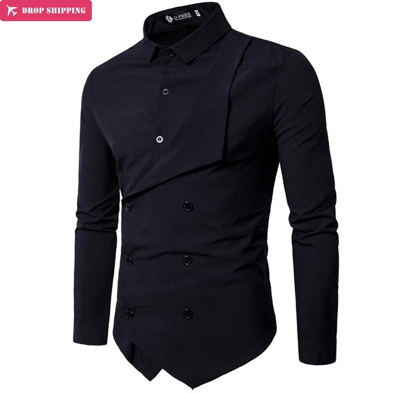 [해외]남자 셔츠 2018 봄 새로운 브랜드 남자 & s 슬림 맞는 드레스 셔츠 남성 긴 Retail 가짜 2 캐주얼 셔츠 Camisa Masculina 크기 M-XXL/Men Shirt 2018 Spring New Brand Men&s Slim Fit Dres