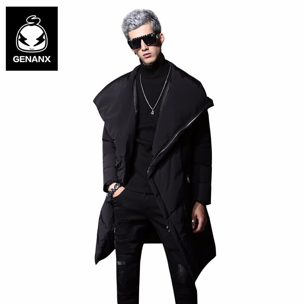 [해외]Genanx 브랜드 긴 스타일 화이트 오리 코트 남자 겨울 따뜻한 굵고 코트 남자 패션 옷 깃 블랙 Outwear 코트 크기 M-XXL/Genanx Brand Long Style White Duck Down Coats Man Winter Warm Thick Co