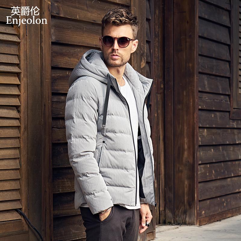[해외]Enjeolon 브랜드 최고 품질 두꺼운 겨울 다운 재킷 남자 가벼운 후드 의류 2 색 코트 플러스 사이즈 3XL 다운 파카 MF0110/Enjeolon brand top quality thicken winter down jacket men light hoode