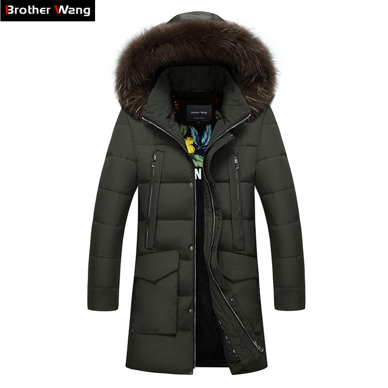 [해외]Brother Wang Brand 2017 겨울 신사복 자켓 패션 후드 모피 칼라 캐주얼 코트 의류 플러스 사이즈 4XL 5XL/Brother Wang Brand 2017 Winter New Men&s Warm Long Down Jacket Fashion Hoo
