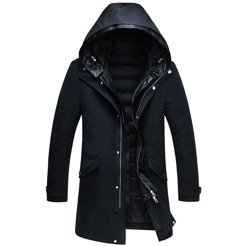 [해외]DZYS Men & s White Duck 다운 재킷 후드 라이너 남성용 코트 파커를 분리 가능 남성/DZYS Men&s White Duck Down Jacket Hooded Liner Detachable Down Coat Parkas for Men Ma