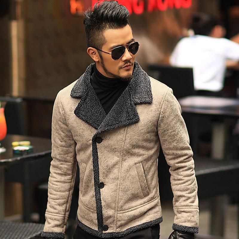 [해외]2016 가을 빈티지 오래 된 가죽 자 켓 남성 양모 안 감 남성 모피 칼라 재킷 망 인조 가죽 짧은 재킷 코트 F1055/2016 Autumn vintage old leather jacket men wool lining men warm fur collar ja