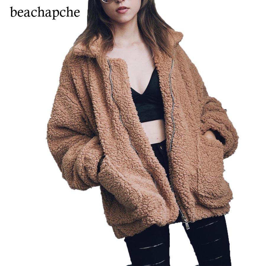 [해외]가짜 lambswool 대형 자켓 코트 겨울 검정 따뜻한 털이 자켓 여성 가을 ??겉옷 2017 새로운 여성 외투/Faux lambswool oversized jacket coat Winter black warm hairly jacket Women autumn
