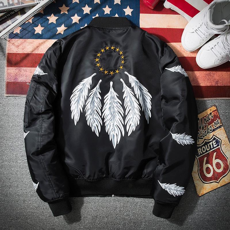 [해외]Streetwear 검은 폭탄 재킷 남자 2017 새로운 깃털 인쇄 파일럿 남성 Jacket/Streetwear Black Bomber Jacket Men 2017 New Feather Print Pilot Male Jacket