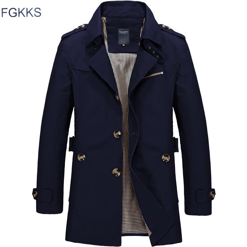 [해외]FGKKS 남성 자켓 코트 롱 섹션 패션 트렌치 코트 새로운 브랜드 캐주얼 맞춤 오버 복 자켓 겉옷/FGKKS Men Jacket Coat Long Section Fashion Trench Coat New Brand Casual Fit Overcoat Jacke