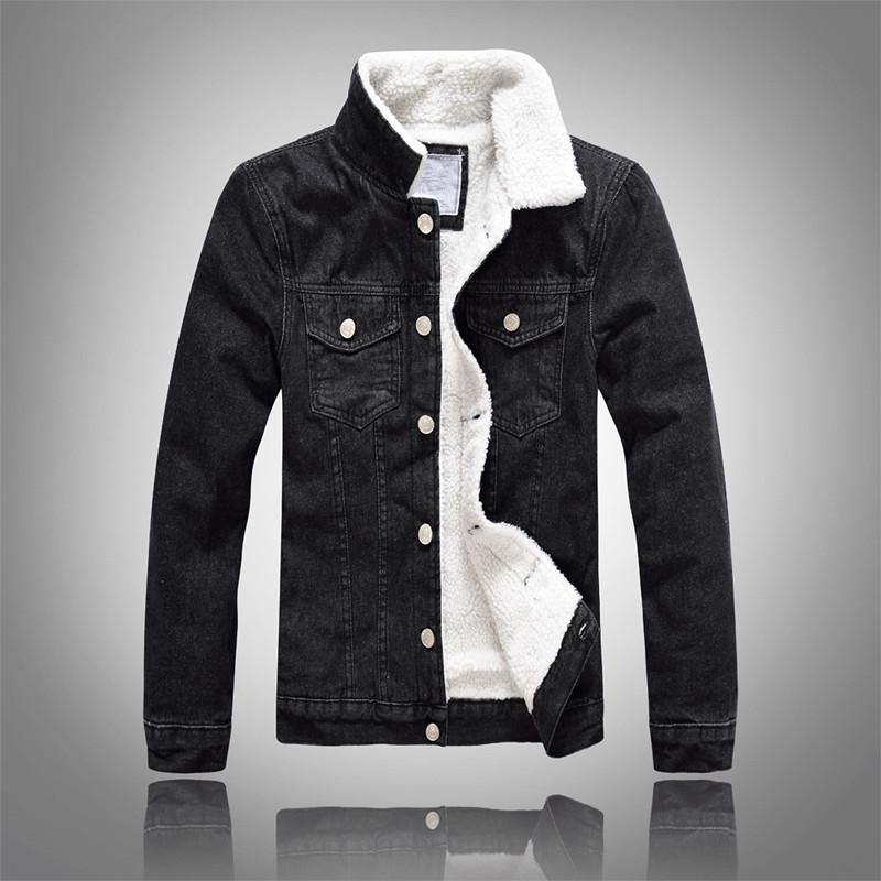 [해외]데님 자켓 모피 칼라 남성 겨울 검정 남성 폭탄 자켓 패션 남성 자켓 플러스 벨벳 레저 코트/Denim Jacket Fur Collar Men Winter Black Male Bomber Jacket Fashion Men Jacket Plus velvet Lei