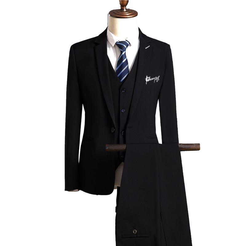 [해외]퓨어 컬러 남성 & s 정장 3 조각 세트 그린 레드 블랙 네이비 블루 패션 비즈니스 웨딩 연회 남자 & 양복 재킷 & amp; 바지 & amp; 조끼/Pure Color Men&s Suit 3 Piece Set Green Red B
