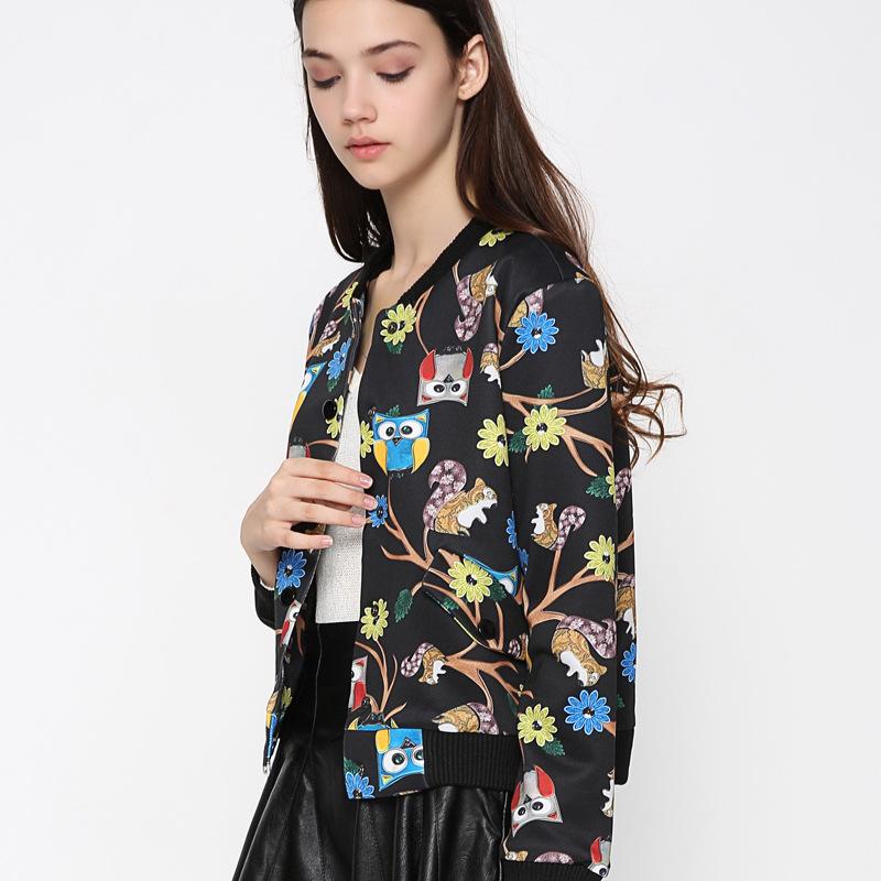 [해외]2018 봄 코트 여성 올빼미 인쇄 자 켓 자 켓 코트 표준 칼라 Outwear 기본 재킷 Jaquetas Feminino 폭탄 재킷 WWT16778/2018 Spring Coat Women Owl Print Crop Jacket Coat Standard Col