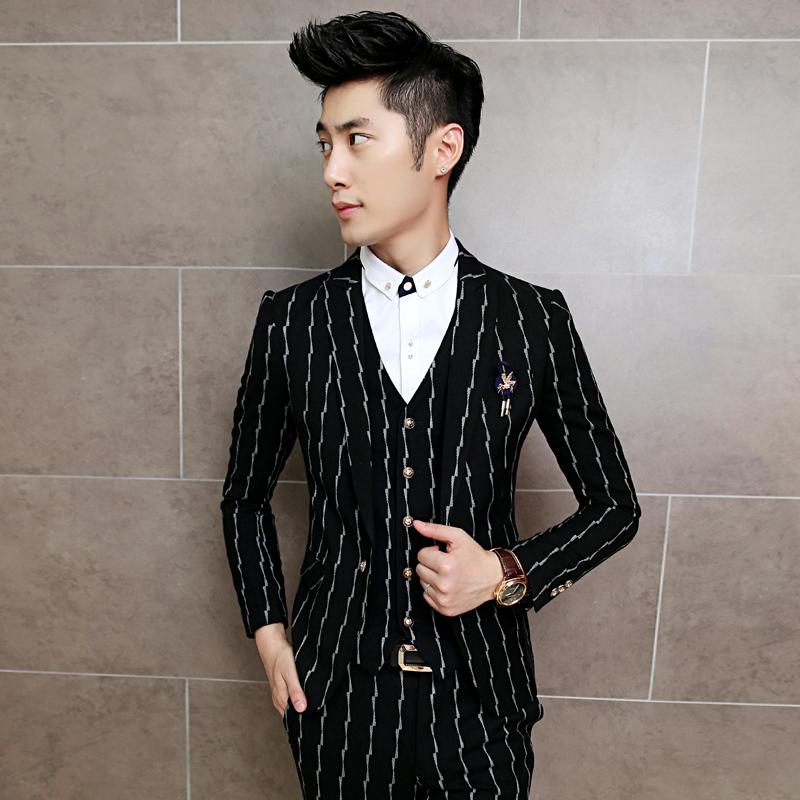 [해외]패션 청소년 남성 & 정장 탑스 편안한 착용 우아한 남성 자 켓 세로 스트라이프 코트 남자 결혼식 연회 남성 정장 자 켓/Fashion Youth Men&s Suit Tops Comfortable Fit Elegant Mens Jackets Vertica