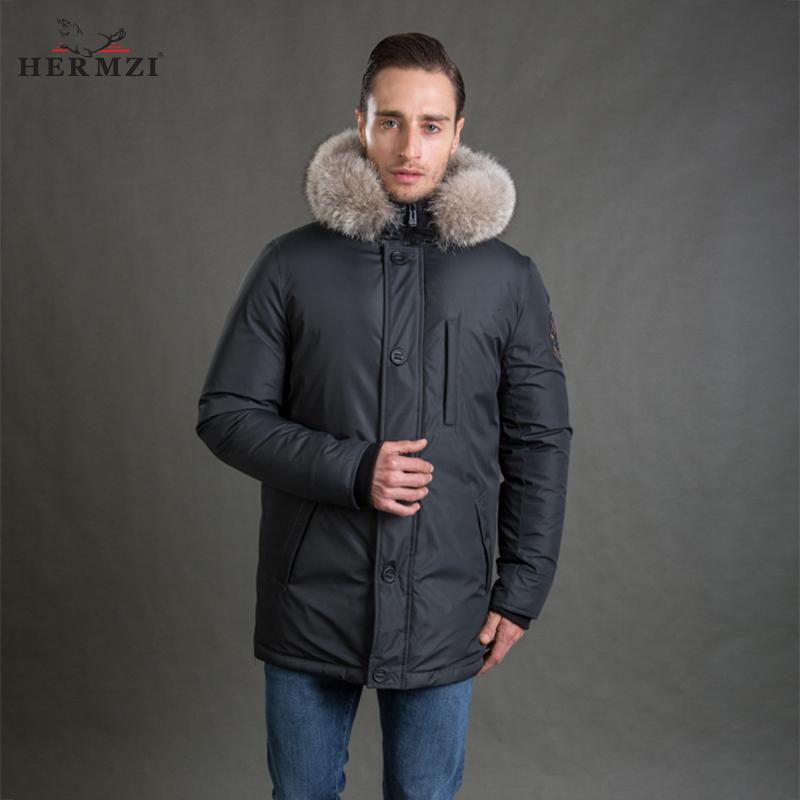 [해외]HERMZI 2017 신사 남성 겨울 코트 패션 자켓 파카 두피 분리형 두건 너구리 모피 칼라 유럽 사이즈 4XL/HERMZI 2017 New Men Winter Coat Fashion Jacket Parka Thicken Detachable Hood Racco