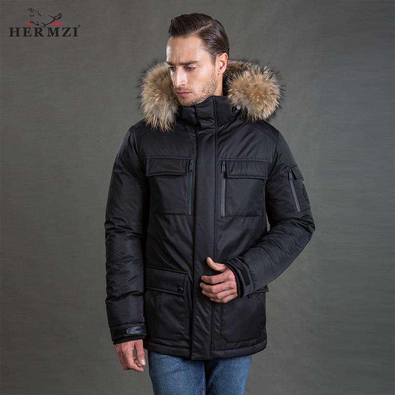[해외]HERMZI 2017 겨울 자켓 남성 파커 두꺼운 패딩 코트 Thinsulate Jacket 분리형 후드 너구리 모피 유럽 크기/HERMZI 2017 Winter Jacket Men Parka Thick Padded Coat Thinsulate Jacket De