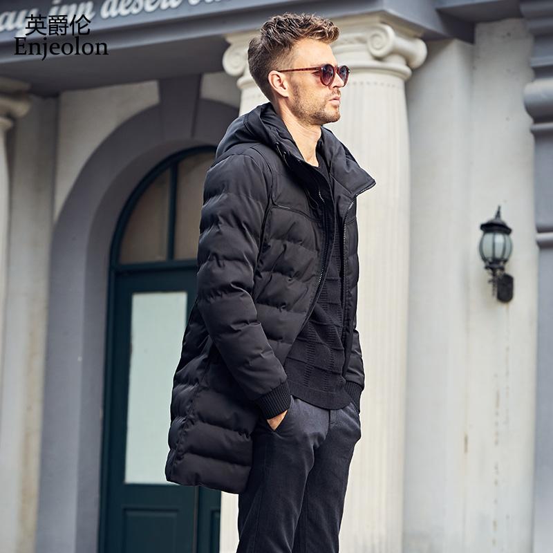 [해외]Enjeolon 브랜드 겨울 코튼 패딩 롱 자켓 귀리 남성 방풍 후드 파카 블랙 두꺼운 퀼트 플러스 사이즈 3XL 코트 남성용 MF0296/Enjeolon Brand winter Cotton Padded long Jacket oat Men Windproof ho