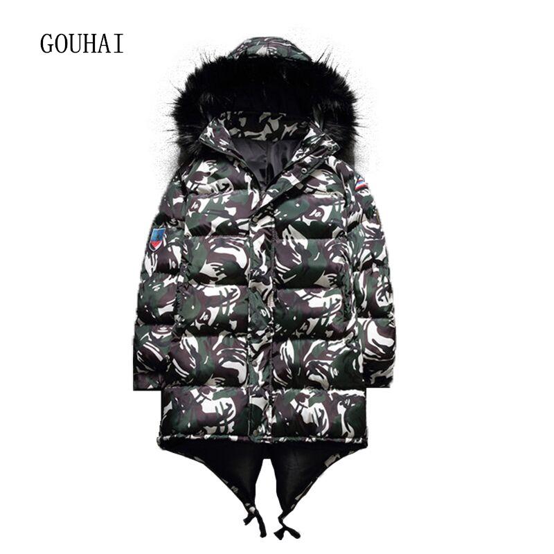 [해외]2017 패션 겨울 재킷 남자 파 카 후드 롱 재킷 남자 겨울 코트 위장 모피 칼라 플러스 크기 M-4XL 5XL/2017 Fashion Winter Jacket Men Parka Hooded Long Jackets Men Winter Coat Camouflag