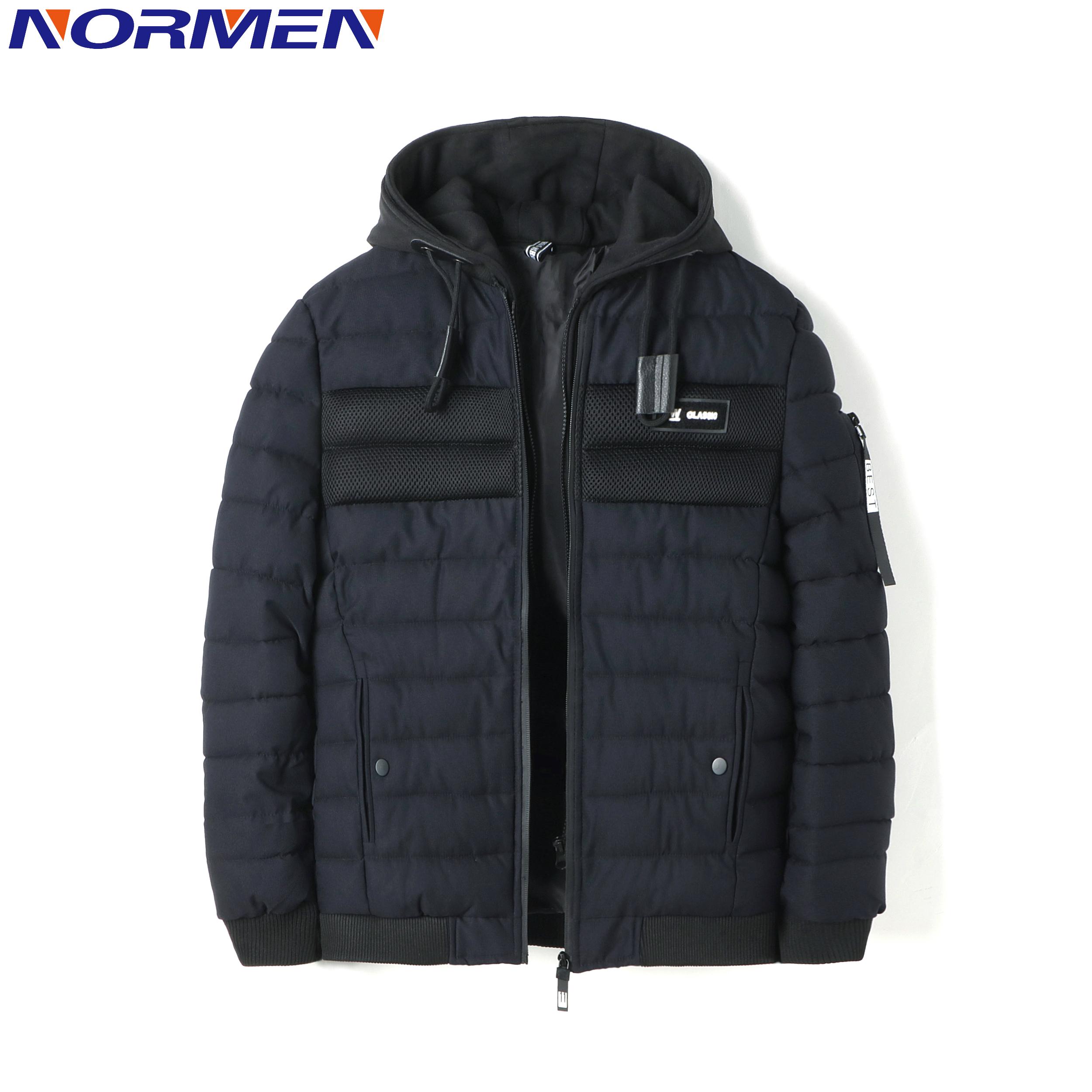 [해외]NORMEN 남성용 캐주얼 파커 패치 워크 후드 티드 윈드 자켓 남성용 패션 솔리드 스테이웨어웨어 두꺼운 패딩 오버 코트 리브 슬리브 코트 남성용/NORMEN Men&s Casual Parkas Patchwork Hooded Winter Jacket Man Fa
