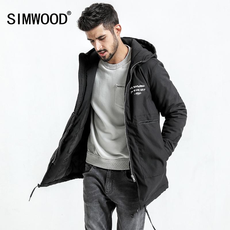 [해외]SIMWOOD 2018 겨울 코트 남성용 겨울 자켓 남성 포켓 슬림 피트 Three-quarter Coat Parka 플러스 사이즈 MC017002/SIMWOOD 2018 Winter Coats Men Letter Winter Jacket Men Pocket S