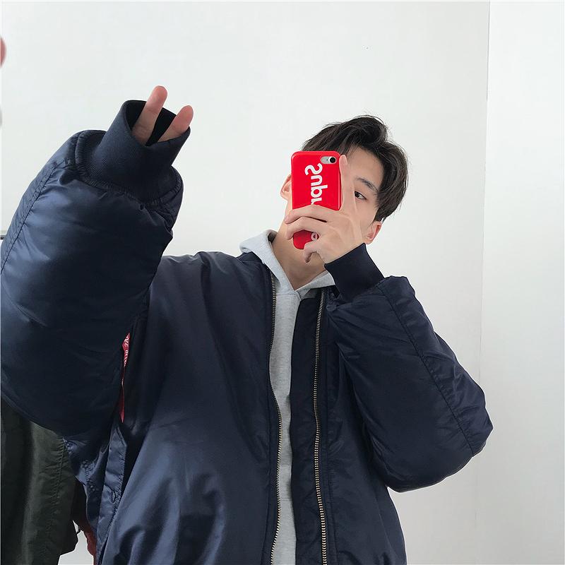 [해외]2018 겨울 남자 폭탄 퍼퍼 빨강 네이비 힙합 파카 비행 패딩 된 파일럿 재킷 코트 패션 더하기 크기 파카 특대 거리/2018 winter man bomber puffer red navy hiphop parka flight padded pilot jacket