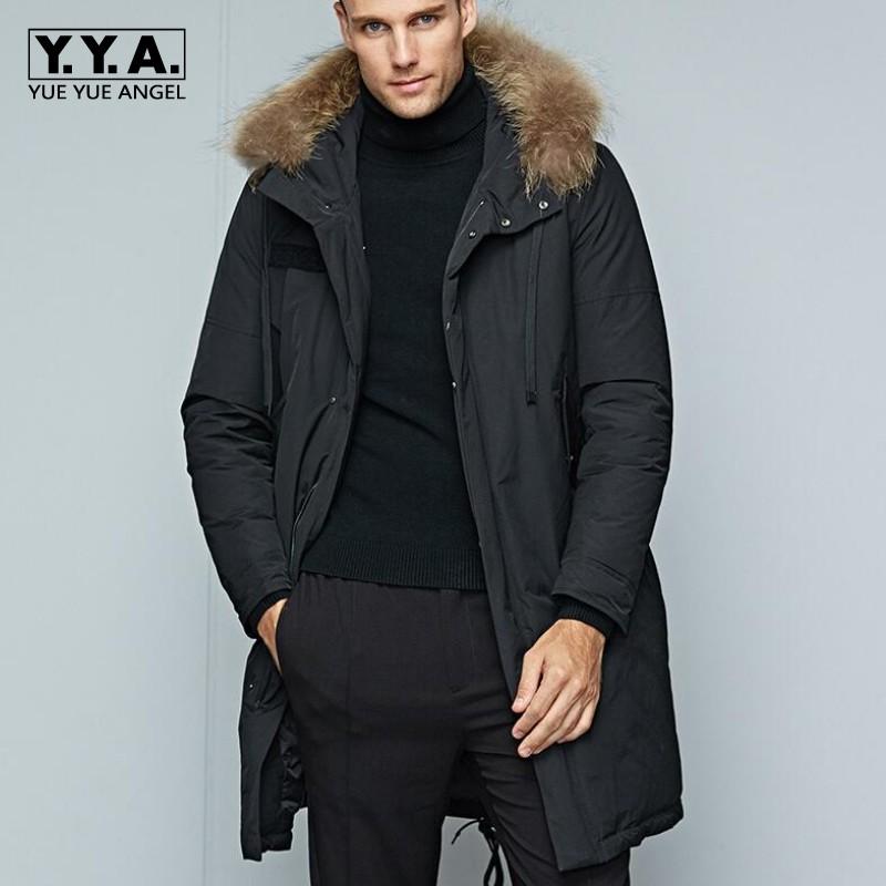 [해외]2018 최고의 브랜드 너구리 모피 칼라 후드 남성 라이트 다운 재킷 비즈니스 맨 겨울 롱 코트 슬림 피트 캐주얼 워머 오버 코트/2018 Top Brand Raccoon Fur Collar Hooded Mens Light Down Jackets Business