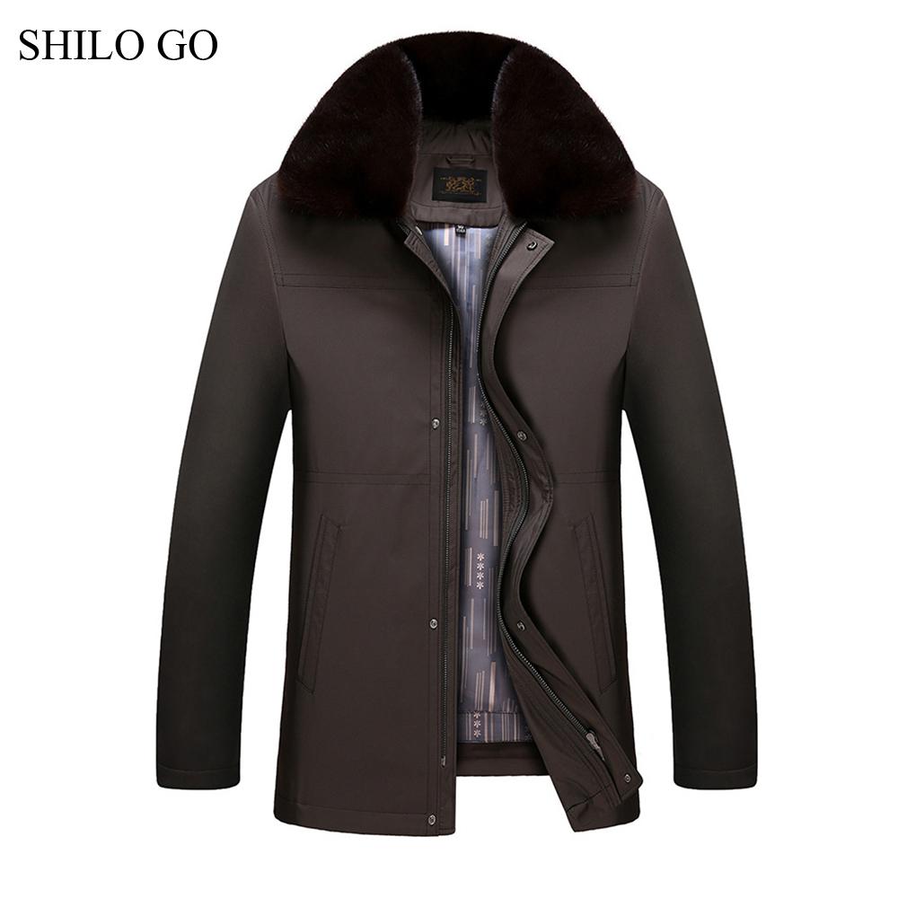 [해외]SHILO GO 4XL New Mens 겨울 다크 브라운 자켓 코트 두꺼운 파카 플러스 사이즈 리얼 밍크 칼라 토끼 라이닝 아웃웨어 모피 코트/SHILO GO 4XL New Mens Winter Dark Brown Jacket Coats Thick Parkas