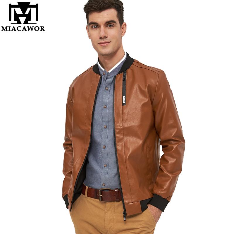 [해외]MIACAWOR 2017 새로운 PU 인조 가죽 코트 가을 Jaqueta de couro Masculino 브랜드 남자 가죽 자켓 M-5XL MJ413/MIACAWOR 2017 New PU Faux Leather Coats  Autumn Jaqueta de co